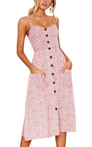 Angashion Damen V Ausschnitt Spaghetti Buegel Blumen Sommerkleid Elegant Vintage Cocktailkleid Kleider, Größe: M, Farbe: Rosa - Sommer-spaghetti-bügel-kleid