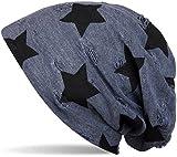 styleBREAKER Beanie Mütze mit Sterne und Vintage Punkte Muster, Unisex 04024046, Farbe:Blau