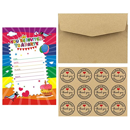 10 Einladungskarten für Geburtstage + Umschläge + Aufkleber für Party, Cumples, Jubiläum, Hochzeiten, Schaufenster, Basteln mit Aufklebern für Den Verschluss von CHIPHOME