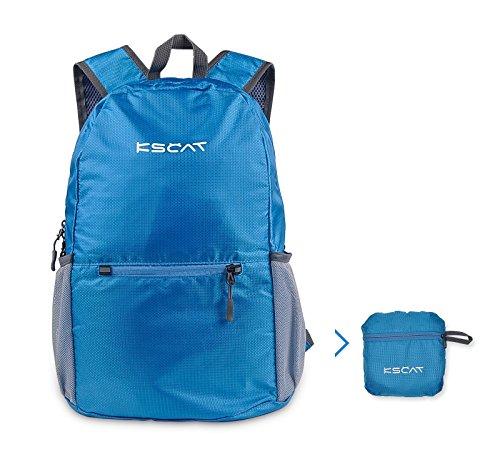 KSCAT 20L Faltbarer Rucksack Leichter Reiserucksack Tagesrucksack wandern für Männer, Frauen und Kinder wasserdicht Fahrradrucksäcke (Blau)
