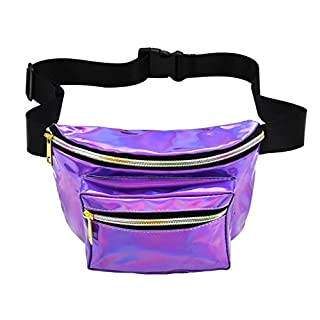 NaiCasy Gürteltasche Sport Hüfttasche Faltbare Hüfttasche Laser Wasserdicht Reflektierende Tasche Mit Verstellbaren Gürtel für Festival Reise Party Taschen Für Konzert oder Rave 1 Stück Lila