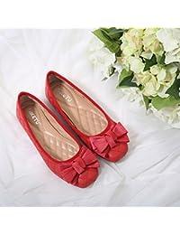 El verano y el otoño dulce princesa zapatos de mujer solo zapatos pajarita luz suave y cómodo al final de la cabeza...
