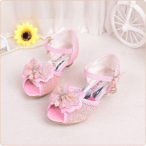 ZGSX Ragazze di estate 2017 sandali dei nuovi bambini i tacchi alti simpatici pattini della principessa ragazze Rosa