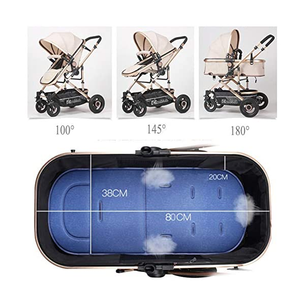 YSH Travel System Baby Stroller Pushchair High View Portable Baby Cart Suitable For Children From 0 To 36 Months /20KG,D-2 YSH Specifications - Stroller for children aged 0-3, standard load capacity 25 kg, maximum load capacity 50 kg, unfolded size 60 x 57 x 100 cm, folding size 80 x 50 x 62cm, net weight 8 kg Function - The stroller can take out the sleeping basket, fold easily, be smaller and easy to carry; adjustable backrest angle can sit or lie flat Features - Stroller can be folded quickly, capacity up to 50 kg / 110 lbs; with shock absorber system for smoother ride, adjustable backrest, comfortable ride, windproof, waterproof, all seasons 7
