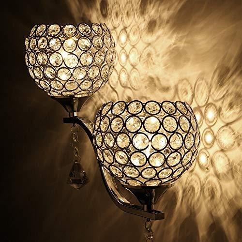 ZSAIMD Moderne K9 Kristallspiegel Edelstahl Wandleuchten Wandleuchten Wandleuchte Nachtlicht-Lampen Leuchten Leuchten mit Schalter for Flur Nacht Wohnzimmer Raum-Kunst-Dekor-Leuchte G9 -