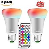 LED RGBW Lampen, Sunpion®10W Dimmbar Glühbirne 12 Farben zur Wahl, inklusive Fernbedienung, Farbwechsel Lampen, LED Birnen, LED Leuchtmittel (E27 2 Pack)