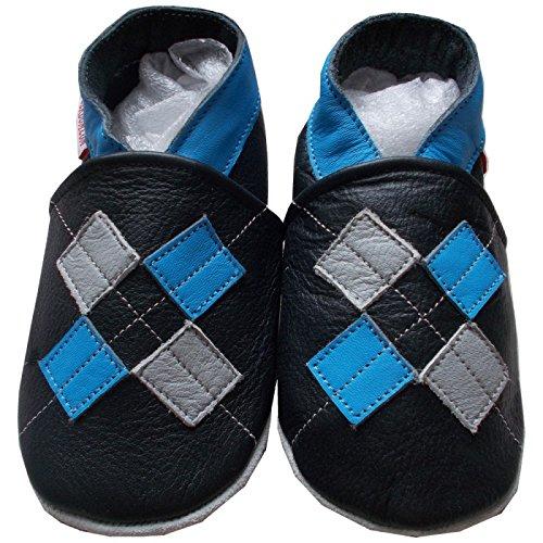 bbkdom - « Boy » Chaussons cuir souple bébé et enfant de 0 à 6 ans Noir