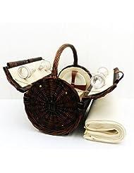 Stamford 4 persona cesta de picnic de mimbre con una manta de lana crema