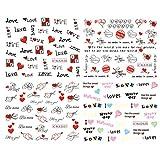 Lurrose Autoadesivi Adesivi di Arte del chiodo della Punta di autoadesivi 4PC Decalcomanie Autoadesivo Decorativo del Cuore di Giorno di San Valentino