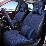 SJMLCF Autositz Autositz Auto-Matte Vier Jahreszeiten Universal Halbverpackung Leinengewebe Sitzbezug Spezielle Autoabdeckung Kissenbezug Auto Sitzbezug-Sets (Color : Blue)