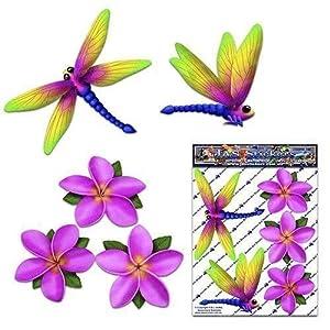 Libelle und Rosa Frangipani Plumeria Kleine Blume Tier Pack Auto Aufkleber - ST00064PK_SML - JAS Aufkleber