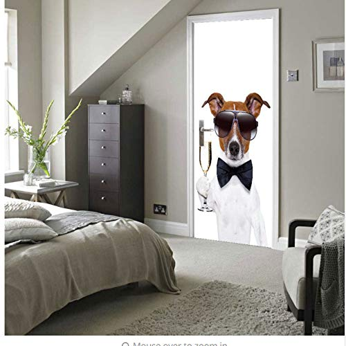 Fqz93in Tür Wand Papier Wandbild,DIY Haustier Niedlichen Hund Kellner Tür Wandaufkleber DIY Haustier Wandbild Schlafzimmer Wohnkultur Poster PVC Wasserdichte Tür Aufkleber