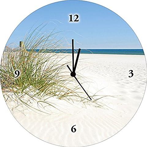 Artland Wand-Uhr Digital-Druck auf Echt Glas mit Motiv Cheryl Casey Schöne Sanddüne mit Gräsern und hübschem Zaun Landschaften Strand Fotografie Creme 35 x 35 x 1,8 cm