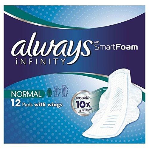 always-infinity-toallas-sanitarias-normales-ademas-con-alas-12-por-paquete-paquete-de-4