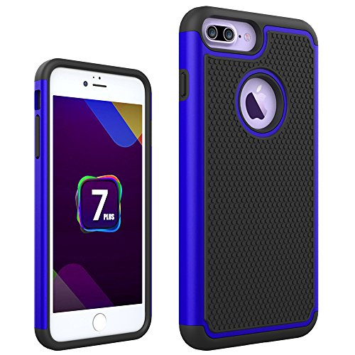 iphone 7 Plus Hülle, CMID Handy Hard Case Cover Hybrid Dual Layer Rugged Silikon Schutzhülle für iphone 7 Plus (Grau) Blau