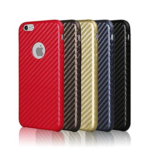 CELL SHIELD Carbon Faser Hülle aus Kunstleder für iPhone 6 / iPhone 7 Braun