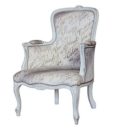 Poltroncina in stile classico in stile shabby-chic per salotto o camera da letto, mobile tappezzato da artigiani veneti