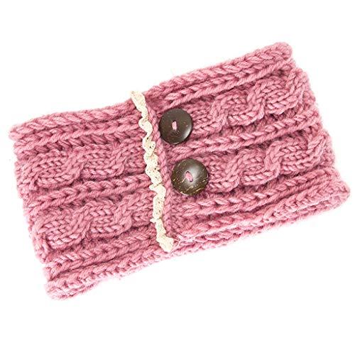 GROOMY MÄDCHEN Frauen Mädchen Haarband Headwraps Häkeln Stricken Woolen Stirnbänder Winter Böhmen Weben Breit Knitting Woolen Stirnband Warm Ear Crochet Turban Haarschmuck - Pink -
