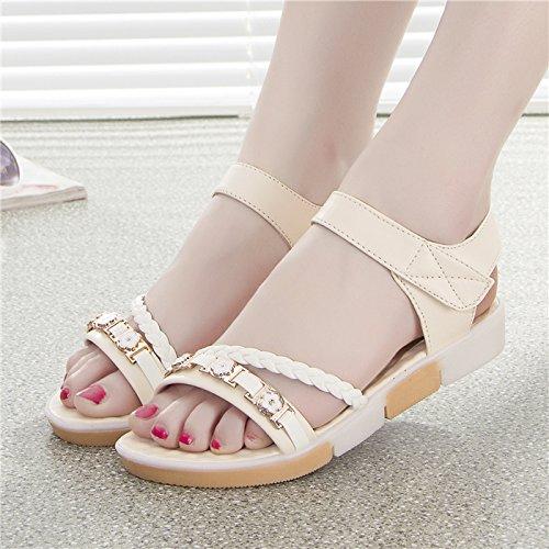 XY&GKDie Summer School Dick unten Toe Sandalen sind flach mit flachen Rutschfeste Schuhe Freizeit Studentinnen, komfortabel und schön 38 meters white