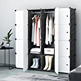 Koossy Expandable Clothes Closet Wardrobe Cupboards Armoire Storage Organizer with Doors, Capacious & Sturdy 16 Cube White&Black, 147 x 47 x 147 cm