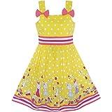 Sunny Fashion Robe Fille Dessin animé Polka Point Arc Attacher Été 8 ans
