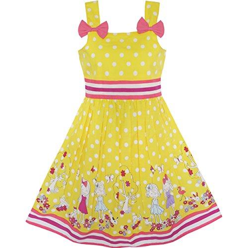 Mädchen Kleid Karikatur Polka Punkt Bogen Binden Sommer Gr. 98-104