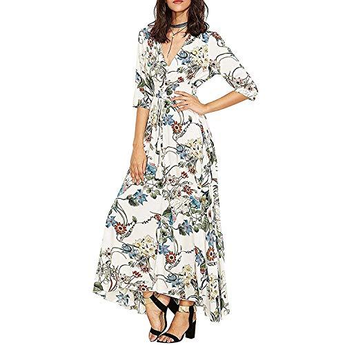 KUONUO Sommerkleider Damen Elegant Strandkleid Blumen Boho Lange Ärmel V-Ausschnitt Party Beachwear Abendkleid Lang White S