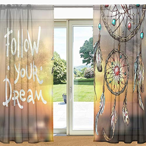 """MyDaily - Cortina de Ventana Transparente con diseño de atrapasueños Estilo Bohemio con 2 Paneles de 140 x 198 cm, para decoración de salón, recámara, poliéster, 55"""" x 78"""" Each Panel"""
