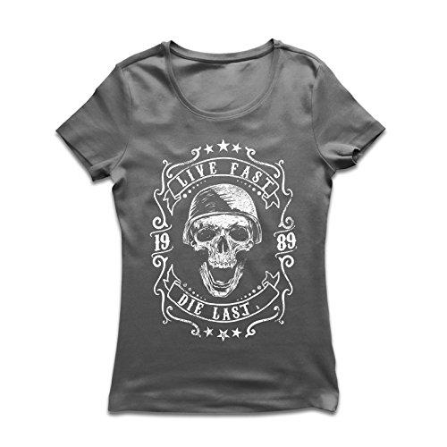 T-shirt femme Vive vite - mourir en dernier - citations de vélo, vêtements de moto, amour pour rouler, grand cadeau pour le motard (Medium Graphite Multicolore)