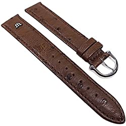Maurice Lacroix Replacement Band Watch Band Ostrich Leather Strap dark brown 22629S, width:15mm