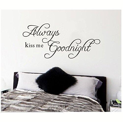 Preisvergleich Produktbild Always Kiss Me Goodnight(L) 90*40cm Wandtattoo wandaufkleber Aufkleber Wandsticker wall sticker Wohnzimmer Schlafzimmer Kinderzimmer Wandbild mit Sprueche