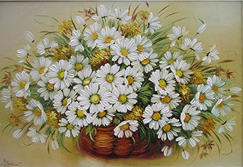 YEESAM ART Neuheiten Malen nach Zahlen Erwachsene Kinder, Gänseblümchen Blumen & Blume Korb 40x50 cm Leinen Segeltuch, DIY ölgemälde Weihnachten Geschenke