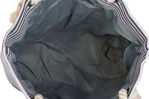 styleBREAKER borsone da spiaggia a righe con ancora, borsa scolastica, borsa per shopping, donna 02012038, colore:Nero-Bianco / Oro Nero-Bianco / Oro