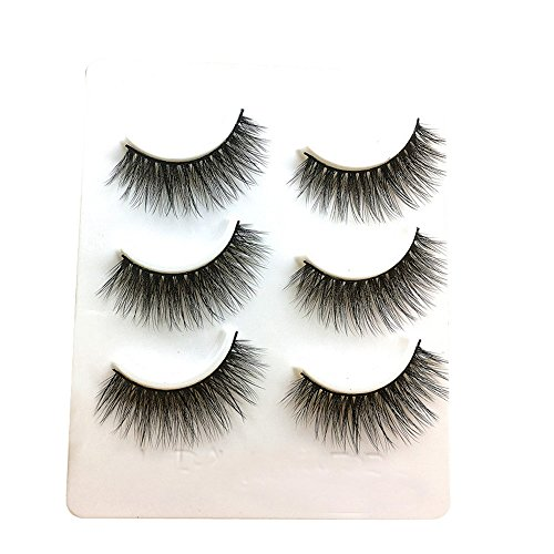 wyxhkj faux cils 3 paires de longs cils faux maquillage naturel faux faux cils noirs épais (C)