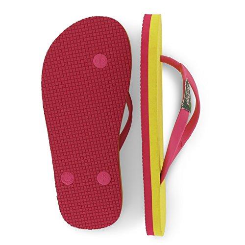 Tongs Feelfine'z Canaria Kids, jaune - pink, caoutchouc naturel, thongs enfant jaune - pink