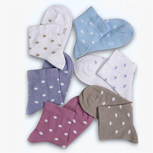 rodfer-Socke Kinder Dots 601Fantasie-Größe 4-Lila Talla 4 (25-27) Farbe weiß mit grauen Streifen - Streifen-jugend-socken