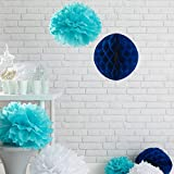 Lights4fun 9er Set Seidenpapier Pompoms und Wabenbälle Honeycombs Türkis Weiß Blau