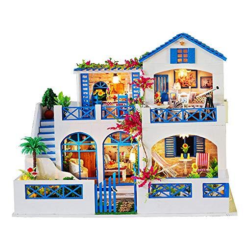 Kanqingqing Maison de poupée Miniature en Bois à Faire soi-même Miniature Kit Romantique Grand modèle Villa avec Meubles, météor Jardin, Bois, Multicolore, 42 * 34 * 32cm
