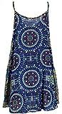 Guru-Shop Boho Dashiki Minikleid, Trägerkleid, Strandkleid, Damen, Petrol/Flieder, Synthetisch, Size:38, Kurze Kleider Alternative Bekleidung