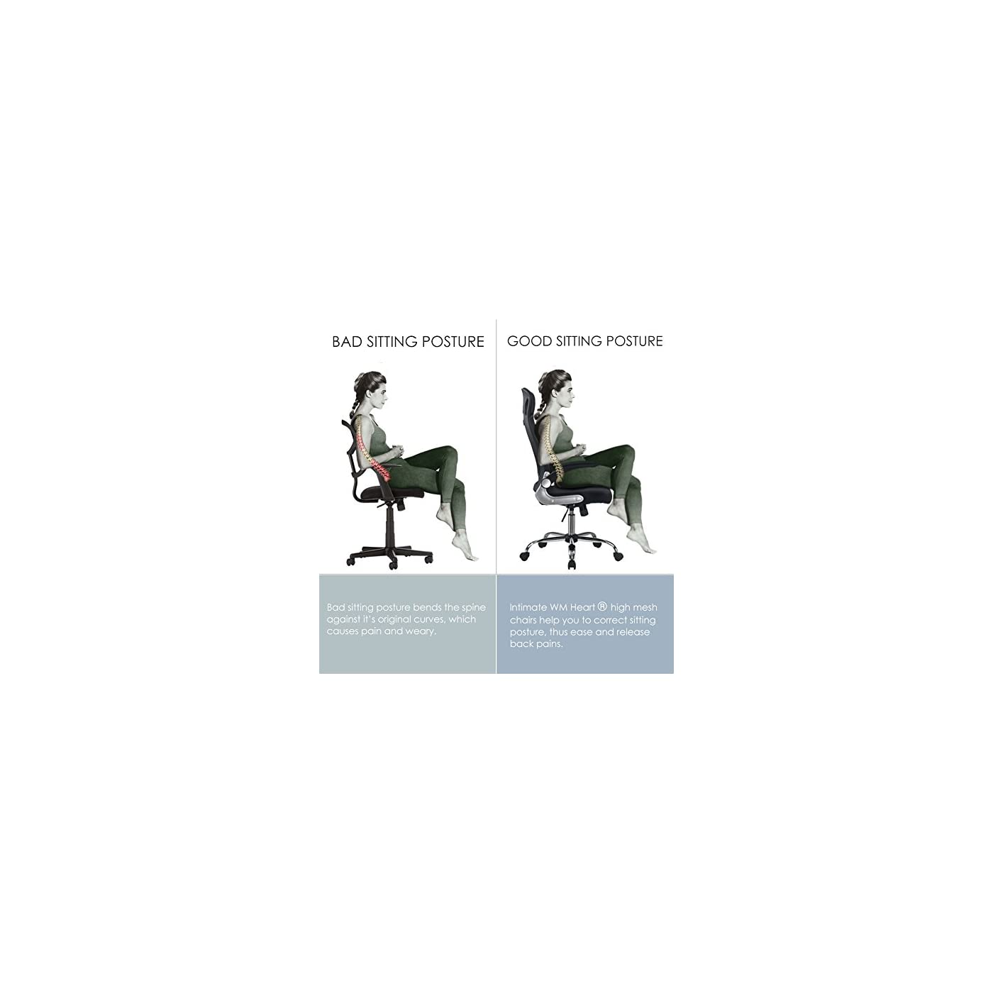 Cool Intimate Wm Heart Black Ergonomic Mesh High Back Padded Short Links Chair Design For Home Short Linksinfo