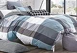 Louisiana Bedding Good Night Copripiumino Matrimoniale Reversibile 100% Cotone 200Fili Nero Grigio Verde, 100% Cotone Cotone, Doppio (Copripiumino + 2 federe)