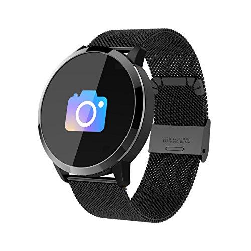 RanGuo Bluetooth Smartwatch für Herren Damen Kinder, Outdoor Sports Intelligente Armbanduhr für Android und ios System, Support-Anruferinnerung und Nachrichtenerinnerung (Stahlband, Schwarz)