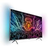Philips 32PUS6401/12 80 cm (32 Zoll) Ultraflacher Android FHD-Fernseher mit 2-seitigem Ambilight und PixelPlus HD dunkelsilber