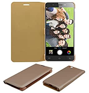 Acm Premium Flip Flap Case For Lava X81 Mobile Front & Back Full Cover Golden