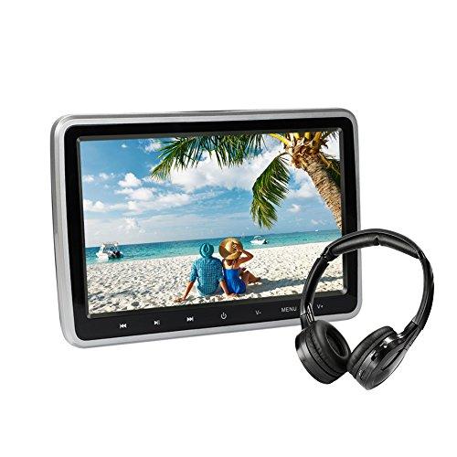 10.1 Zoll Auto DVD Spieler TFT LCD Bildschirm Kopfstütze Video Monitor, tragbare Auto TV für Kinder mit IR-Kopfhörer Fernbedienung USB SD HDMI (CL101DVD + H) (Tragbare Av-wagen)