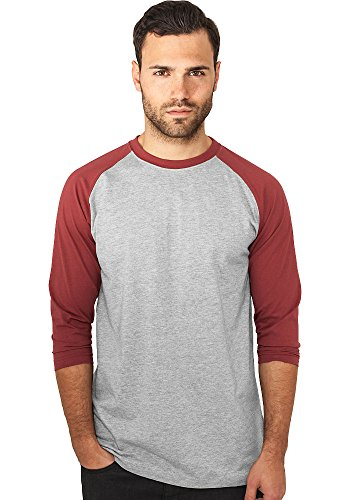 Grau Classic Long Sleeve T-shirt (Urban Classics Herren Shirt 3/4-Arm Contrast grey/ruby L)