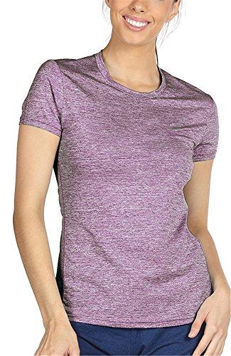 icyzone Sport T-Shirt Damen Kurzarm Laufshirt - atmungsaktiv Fitness Shortsleeve Tee Yoga Top (XXL, Lavender)