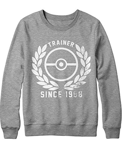 Sweatshirt Pokemon Go Trainer Since 1998 Kanto Official Gym Leader X Y Nintendo Blue Red Yellow Plus Hype Nerd Game C123132 Grau M