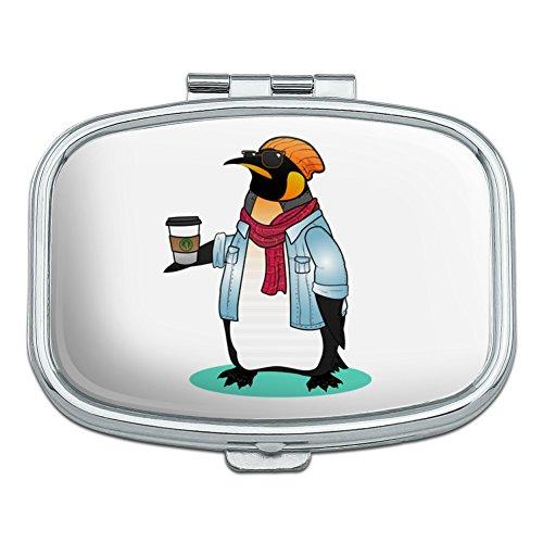 Hipster-fällen (Cool Penguin Hipster mit Kaffee Rechteck Pille Fall Schmuckkästchen Geschenk-Box)