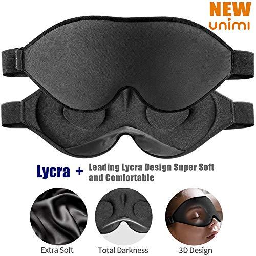 2019 Verbesserte Schlafmaske und Augenmaske für Frauen und Männer, weiche Augenmaske aus 3D konturiertem Lycra Material, 100{766864cd7abbc2251b2824b1a3594e4382e0207d92fc7f8b77329ee8f2fc6856} Lichtblockierende Schlafmaske für Reisen, Nickerchen-Schwarz